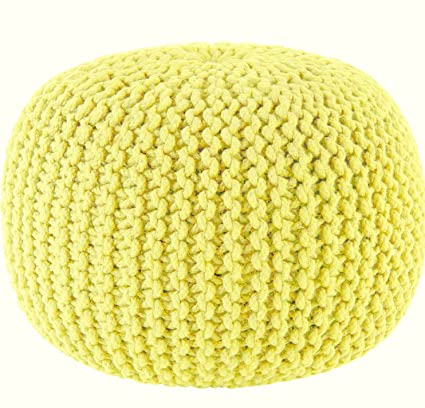 Amazon One Piece Yellow Ottoman Hand Knitted Themed Pouf Cool Yellow Knit Pouf
