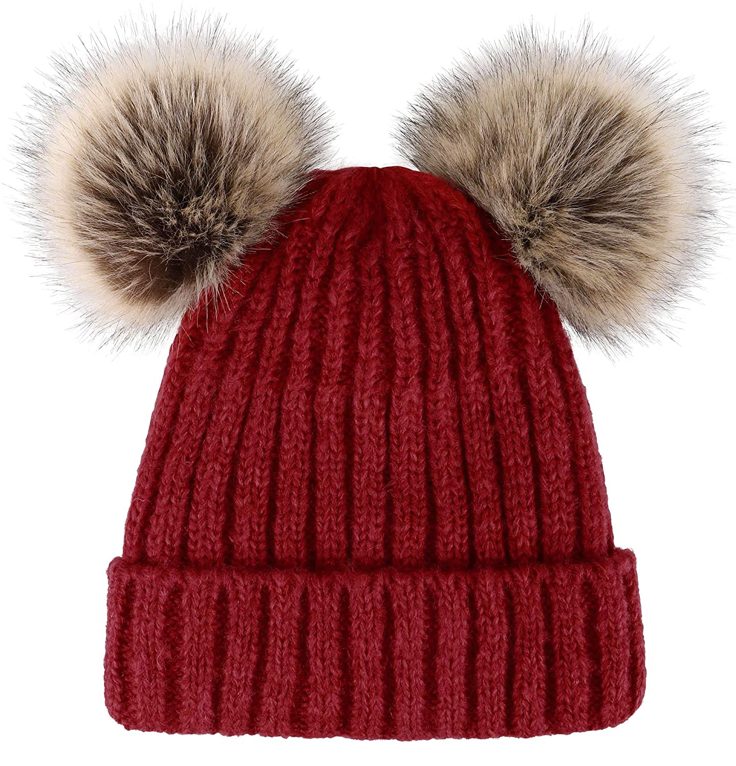 049949fda94 ARCTIC Paw Women Knit Beanie Cable Knit Beanie Hat Faux Fur Pompom Ears at  Amazon Women s Clothing store