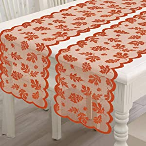 Thanksgiving Table Runner with Maple Leaves, 2 Pack Fall Harvest Lace Dinner Table Decorations for Thanksgiving Party and Daily Use-Coffee Table,Outdoor Patio Table,Dessert Table etc,13 X 72 Inch