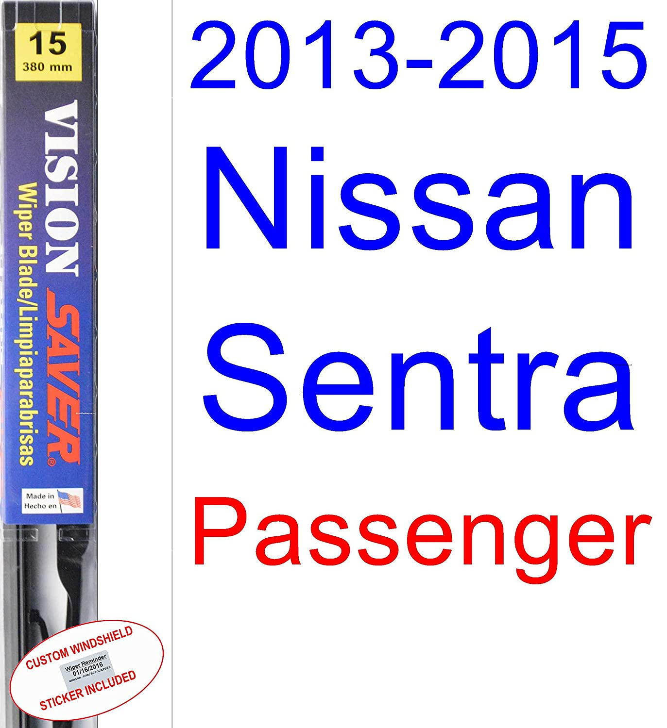 Amazon.com: 2013-2015 Nissan Sentra Replacement Wiper Blade Set/Kit (Set of 2 Blades) (Saver Automotive Products-Vision Saver) (2014): Automotive