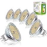 Liqoo® 6 x 5W MR16 Ampoule LED Lampe Bulb Blanc Chaud AC / DC 12V 400 Lumen 2800K Equivalente à une Ampoule Incandescente de 35W 60 x 2835 SMDs
