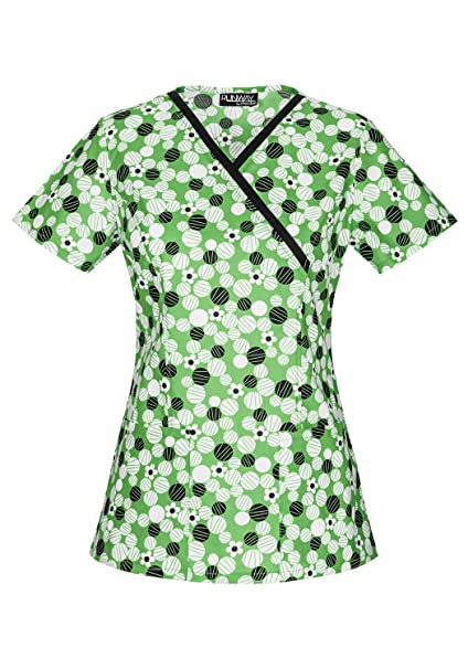 6514cfac06b Runway Stretch by Cherokee Women's Mock Wrap Daisy Dots Print Scrub Top  X-Small Print: Amazon.ca: Clothing & Accessories
