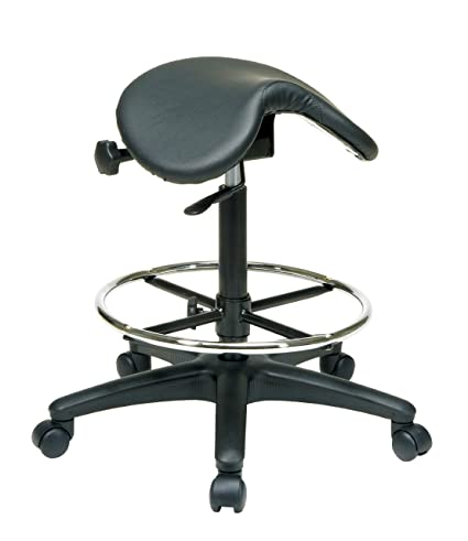 Office Star Backless Office Stool With Saddle Seat And Angle Adjustment,  Black, 25 To