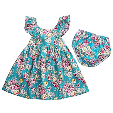 35c0460ac846 2PCS Baby Girls Short Sleeve Cute Floral Pattern Lotus Leaf Collar Ruffled  Dress+Bottom Set