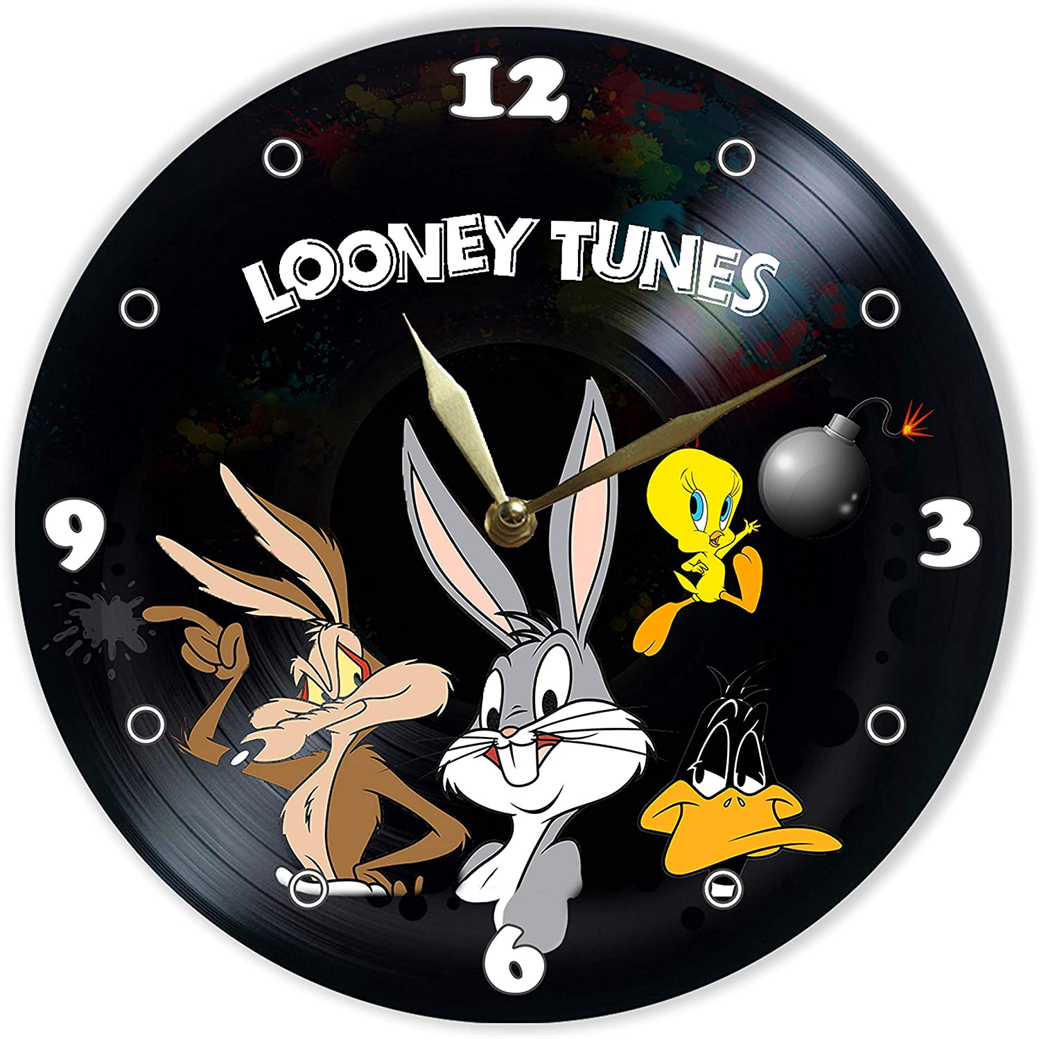 """Leooolukkin Looney Tunes Vinyl Clock 12"""", Wall Clock Painted Looney Tunes, Original Gifts for Cartoons Lovers, The Best Gift for Kids, Unique Wall Art Home Decor"""