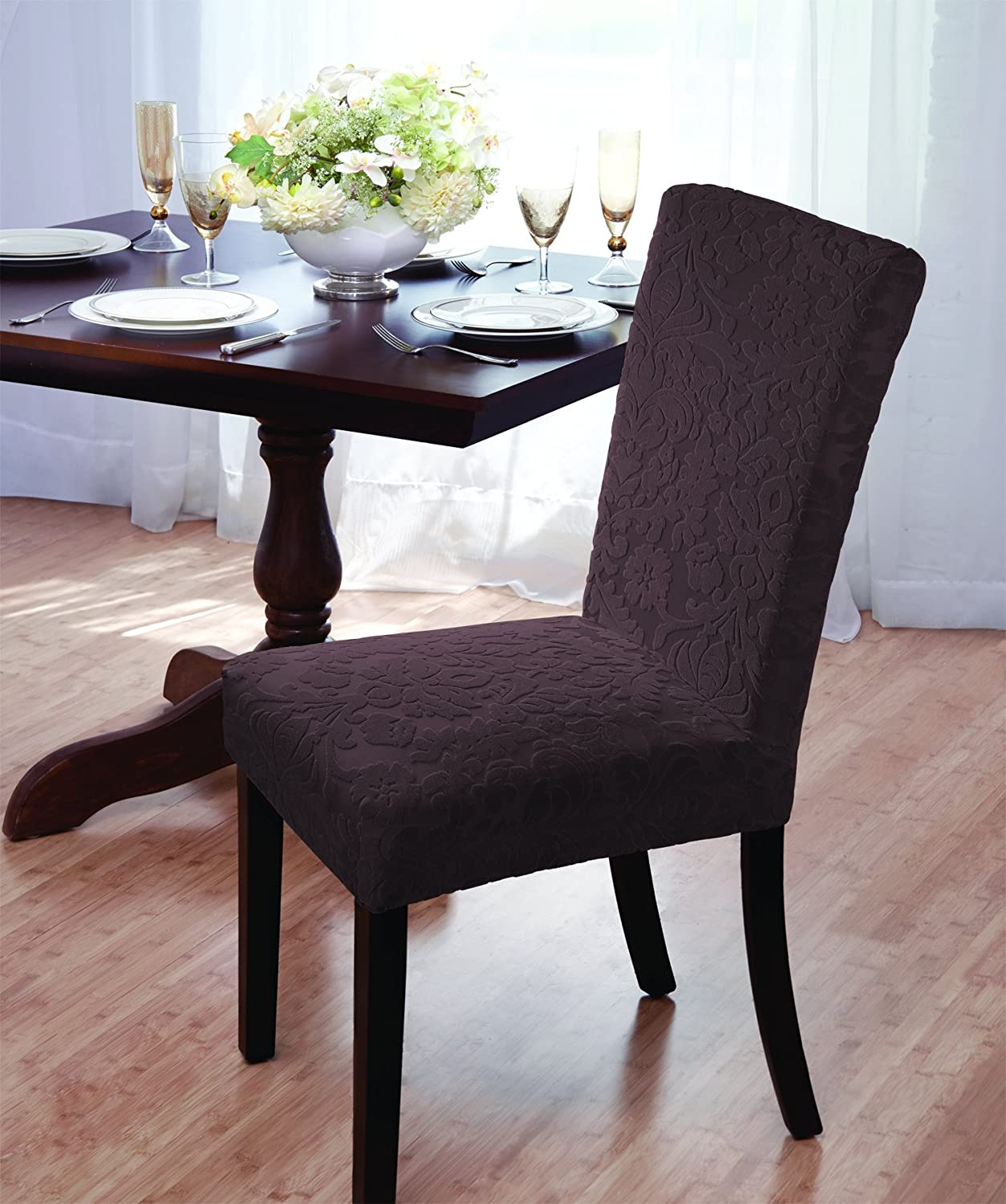 Amazon Luxurious Velvet Damask Dining Chair Cover Beige Burgundy Brown Green Home Kitchen