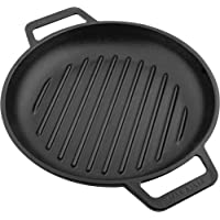 Victoria SKL-311 Cast Iron Round Grill Pan with Double Loop Handles Seasoned with 100% Kosher Certified Non-GMO Flaxseed Oil, 10 Inch, Black