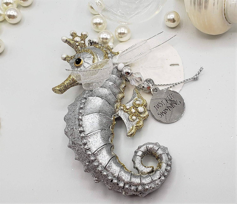 Nautical Christmas Ornament Coastal Christmas Silver Sea Horse Ornament Beach Christmas Ornament Seahorse