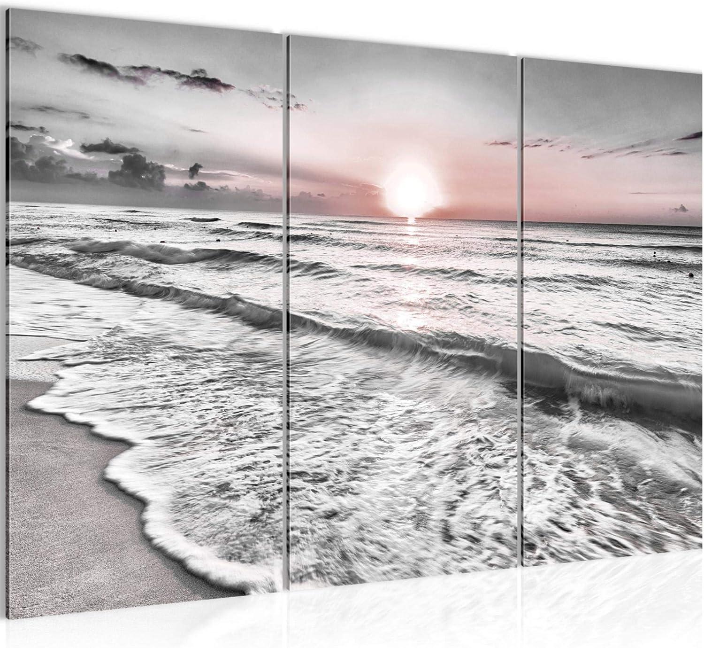 Sonnenuntergang Bild Strand Meer Keilrahmen Leinwand Poster XXL 120 cm*40 cm 547