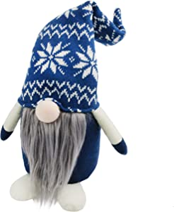 Bstaofy Handmade Plush Swedish Tomte Nisse Figurines Gnome Christmas Santa Claus Elf Home Desktop Collectible Doll Stuffed Decor Holiday Party Supplies Table Ornament, 16'' (Blue)