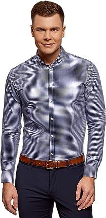 oodji Ultra Hombre Camisa Extra Slim a Cuadros Pequeños: Amazon.es: Ropa y accesorios