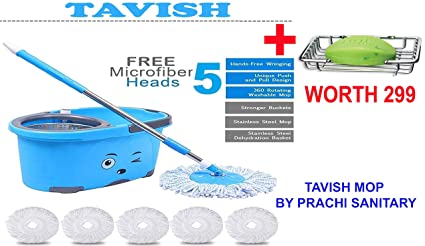 TAVISH Mop Bucket Magic Spin Mop Bucket Double Drive Hand Pressure Stainless Steel Mop with 5 Microfiber Mop Head Household Floor Cleaning & 4 Color May Vary AND ALSO A SINGLE SOAP STEEL SOAP DISH FREE WORTH RUPEES 299 NEW YEAR DHAMAKA