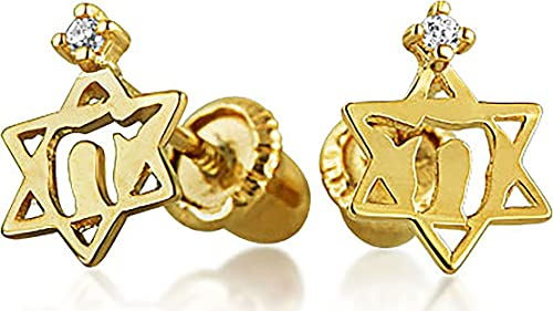 14k Yellow Gold Jewish Star of David CZ-Accented with Chai Charm Pendant
