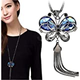 Shining Diva Fashion Jewellery Butterfly Pendent for Girls with Long Chain Pendant Party Western Wear Stylish Necklace for Women & Girls(Blue)(9275np)