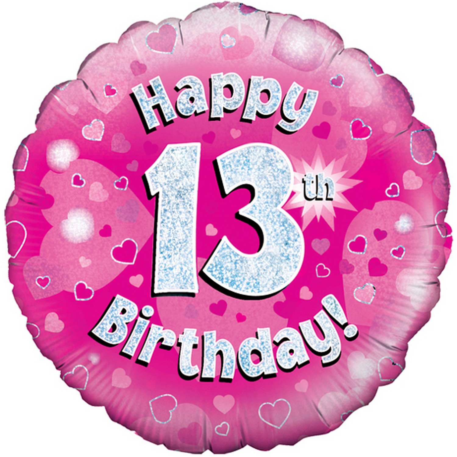 Oaktree 18 Inch Happy 13th Birthday Pink Holographic Balloon (One Size) (Pink/Silver) UTSG4184_1
