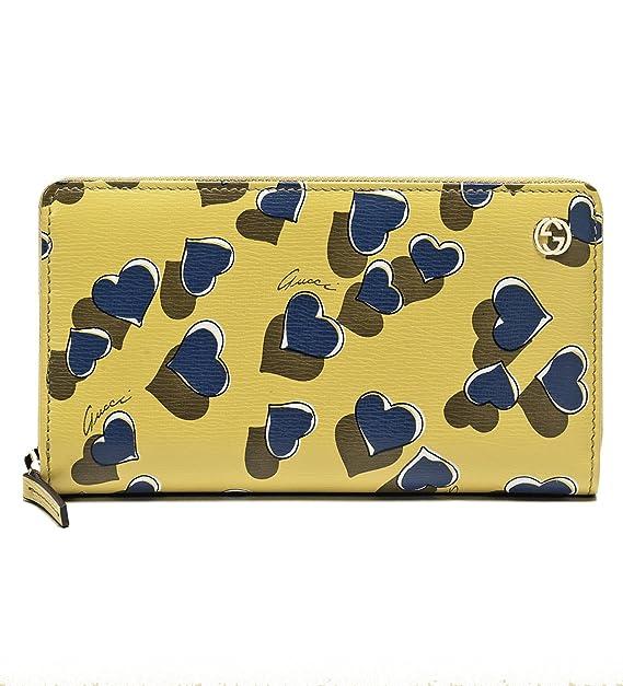 Gucci Heartbeat impresión amarillo piel con cremallera alrededor de tipo cartera 309705