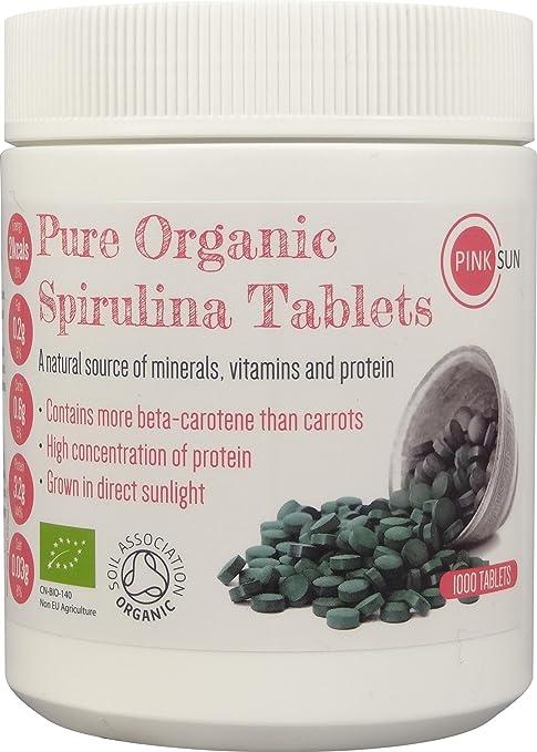 Espirulina Ecológica Comprimidos 1000 x 500mg Tabletas Pastillas Orgánica Alga Pura Vegetariano Vegano sin Gluten No GM - PINK SUN Bio Natural Organic ...