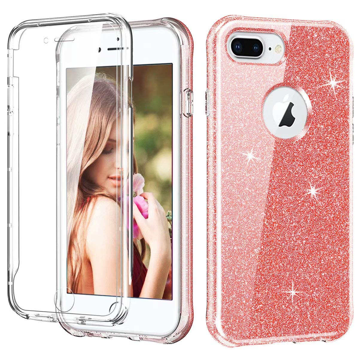 iPhone 8 Plus / 7 Plus Case, Ranyi Full Body Protective Crystal Transparent Cover Hybrid Bumper [Built in Screen Protector] Flexible Resilient TPU Case for 5.5 Inch iPhone 8 Plus /7 Plus (Pink) by Ranyi