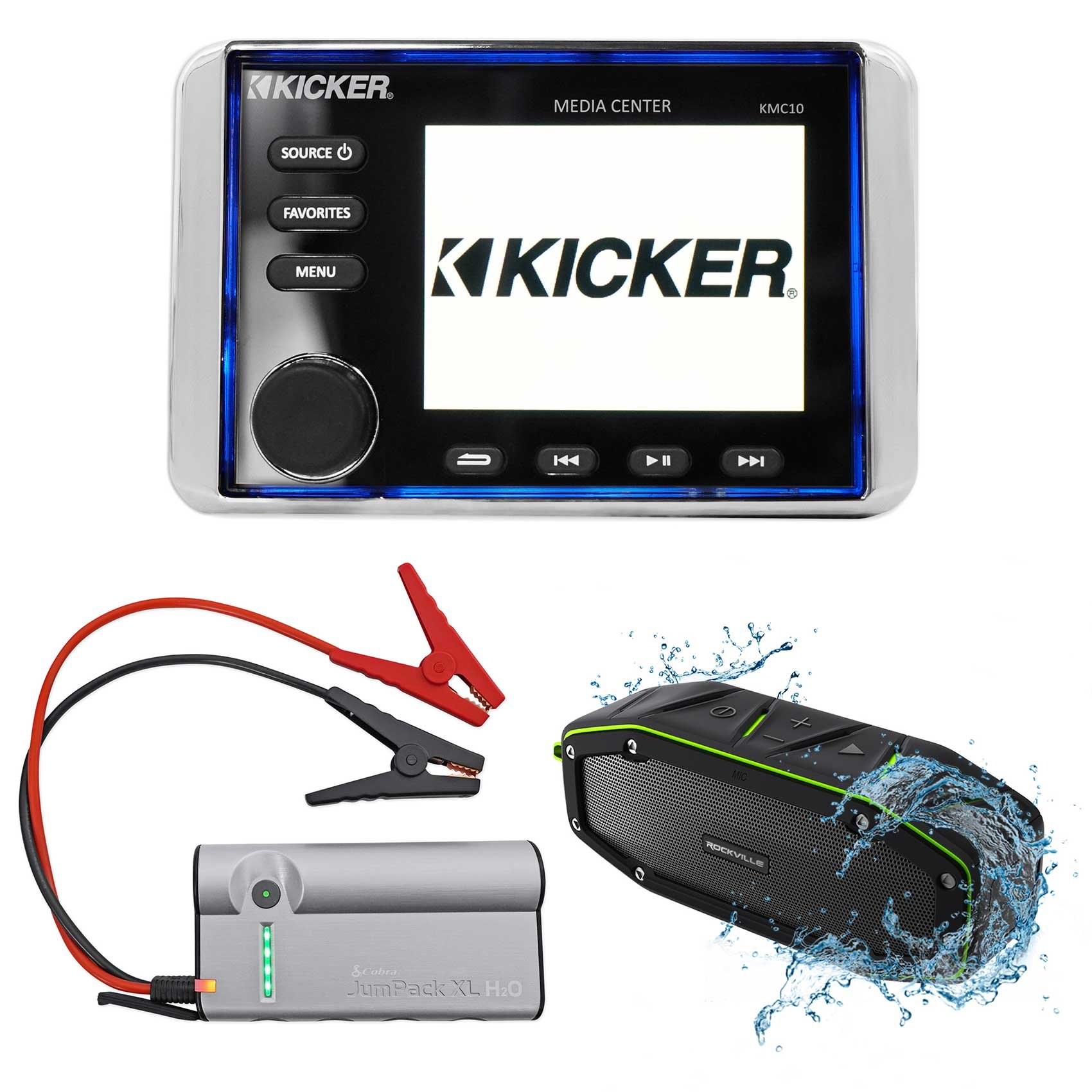 KICKER KMC10 Marine Gauge Hole Digital Media Bluetooth Receiver+Jump Starter