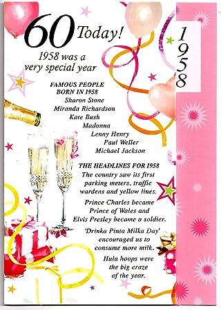 Sixtieth 60th Birthday 1958 Card Female Free 1st Class Post Uk