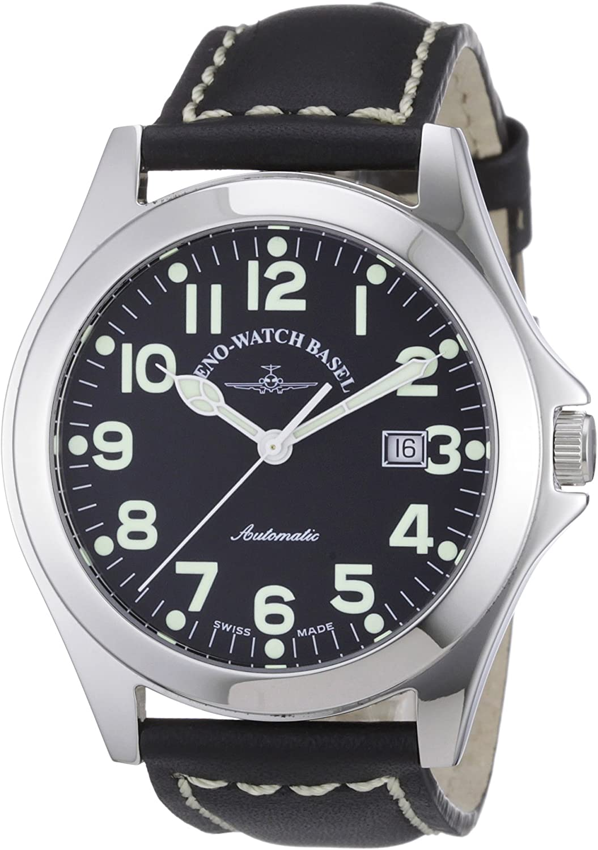 Zeno Watch Basel Ghandi 8112-a1 - Reloj analógico automático para Hombre, Correa de Cuero Color Negro (Agujas luminiscentes, Cifras luminiscentes)