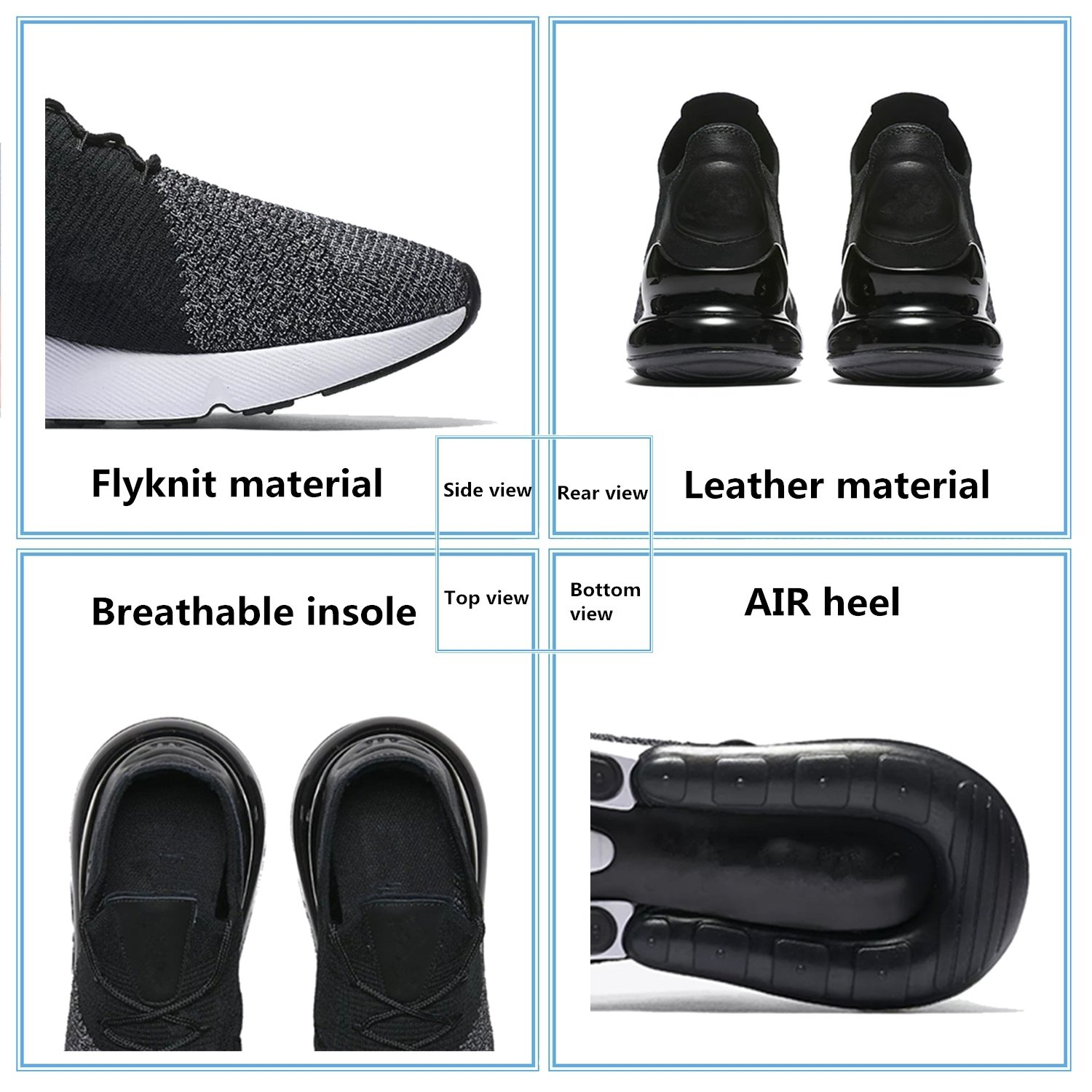 TENGFEI Air Shoes 270 Flyknit Men's Running Shoes Air Trainers Lace up Breathable Leisure Sneaker B07DG2CNQY 12.5 M US|Black 39ff79