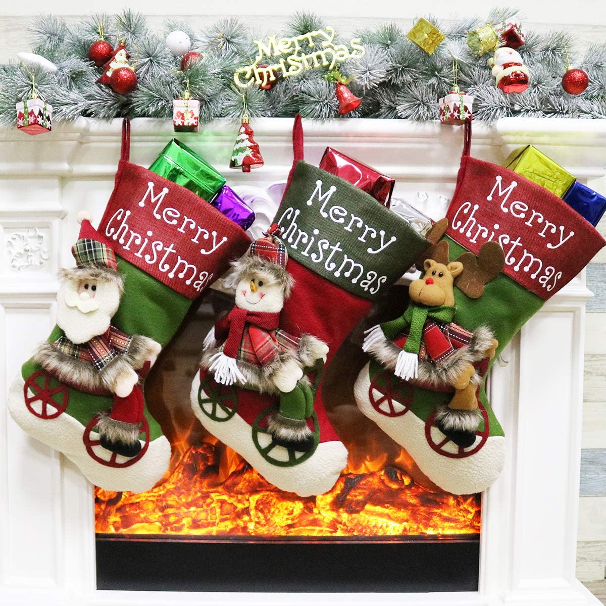 Aitey Christmas Stocking, Set of 3 Santa, Snowman, Reindeer, Xmas Character 3D Plush with Faux Fur Cuff Christmas Decorations and Party Accessory 3