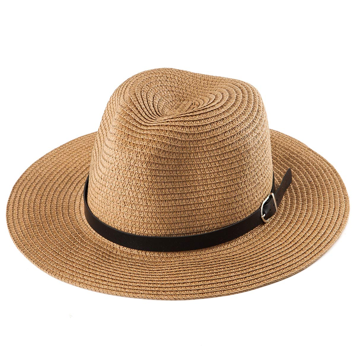Wide Brim Fedora Women Hat - Khaki Straw Hat Women Sun Hat Men Fedora Floppy Hat