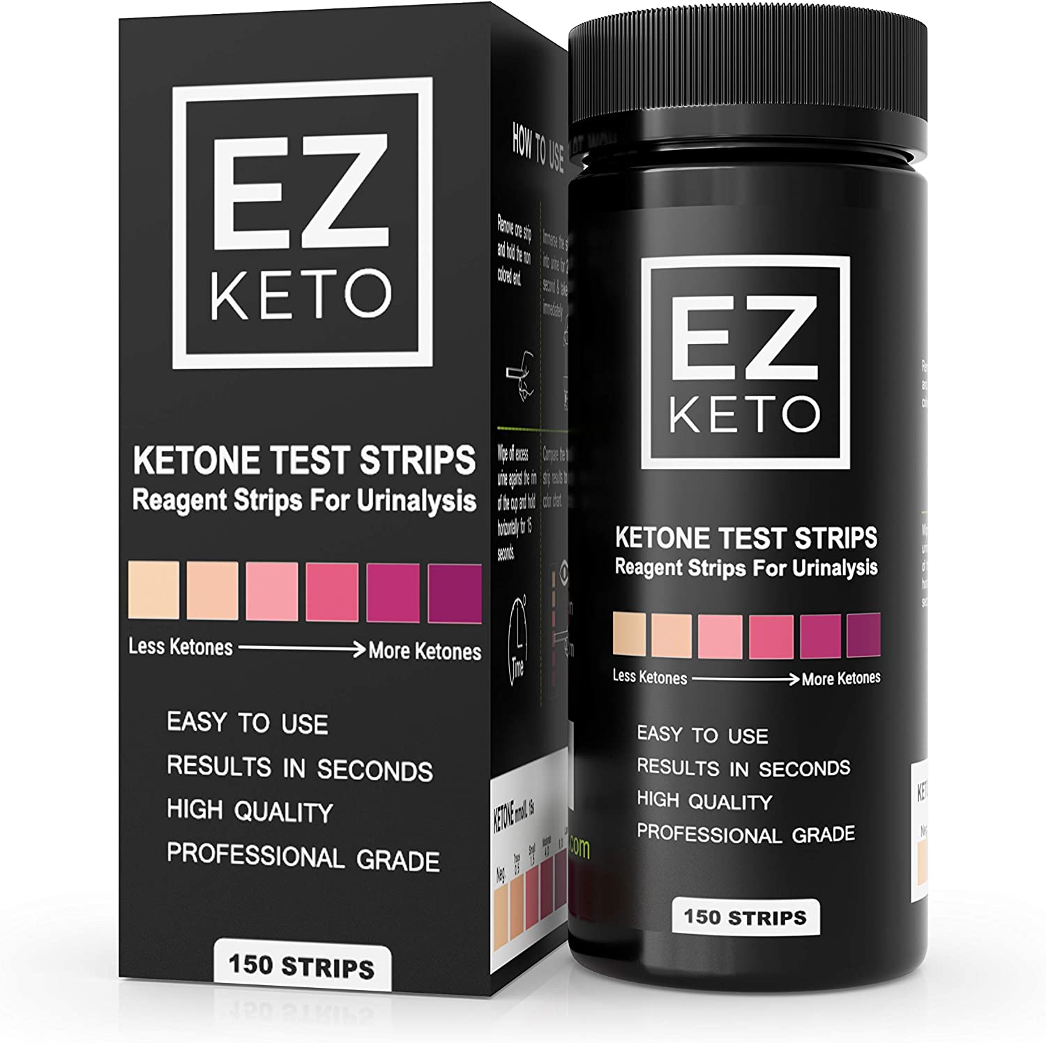 Easy Keto Ketone Testing Strips: For Urinalysis 150 High Grade Test Sticks Accurately Measure Urine Level For Ketones Perfect For Ketogenic Paleo Low Carb and Atkins Diets and Monitoring Ketosis: Health & Personal Care