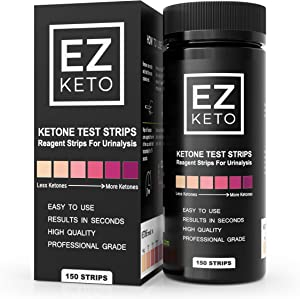 Easy Keto Ketone Testing Strips: For Urinalysis 150 High Grade Test Sticks Accurately Measure Urine Level For Ketones Perfect For Ketogenic Paleo Low Carb and Atkins Diets and Monitoring Ketosis