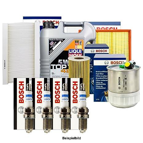 Bosch inspektions Juego 4 Filtro + Velas + 5L Liqui Moly 5 W de 30