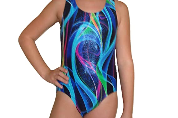 a50599d34651 Red Monkey Metallic Ribbon Print Girls Gymnastic Leotard Size 12
