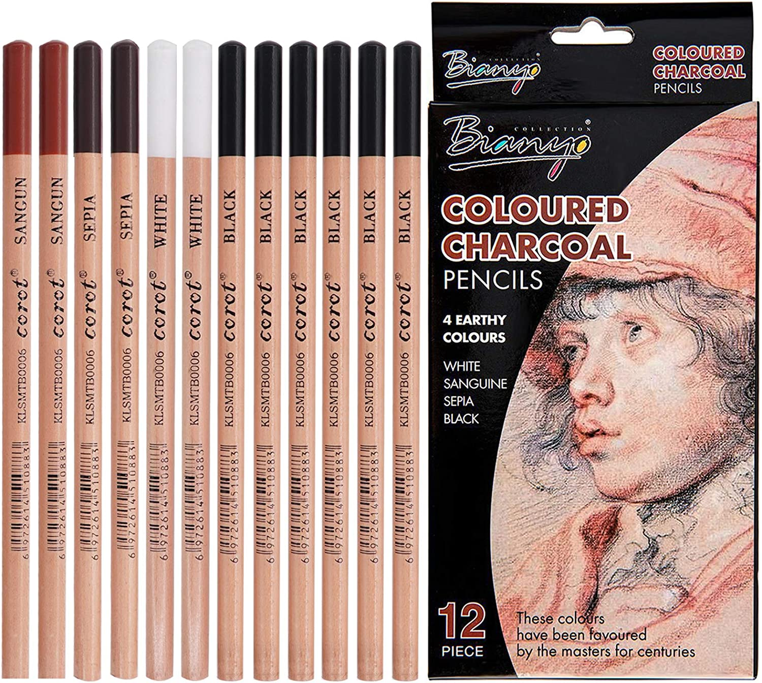 12 Pcs Coloured Charcoal Pencil Set 4 Colors 3 Hardness. Johiux Charcoal Drawing Pencils for Beginners