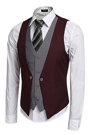 Coofandy Chaleco Hombre de Vestir Traje de Boda Waistcoat Blazers ...