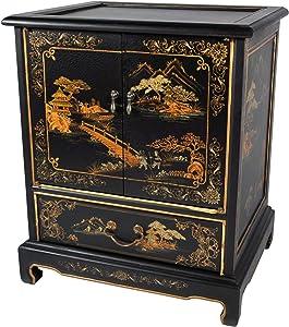 Oriental Furniture Japanese End Table - Black Landscape