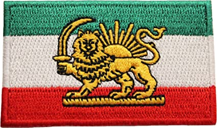 IRAN PERSIAN LION OLD  COUNTRY FLAG IRON-ON PATCH CREST BADGE 1.5 X 2.5 INCH