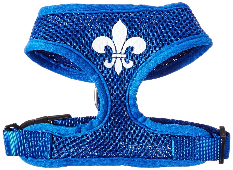 (Small, bluee) Mirage Fleur de Lis Design Soft Mesh Dogs Harness, Small, bluee