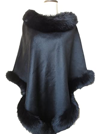 4f63202c253 Real Cashmere Poncho Real Fox Fur Trimmed all Round Women Coat (black)