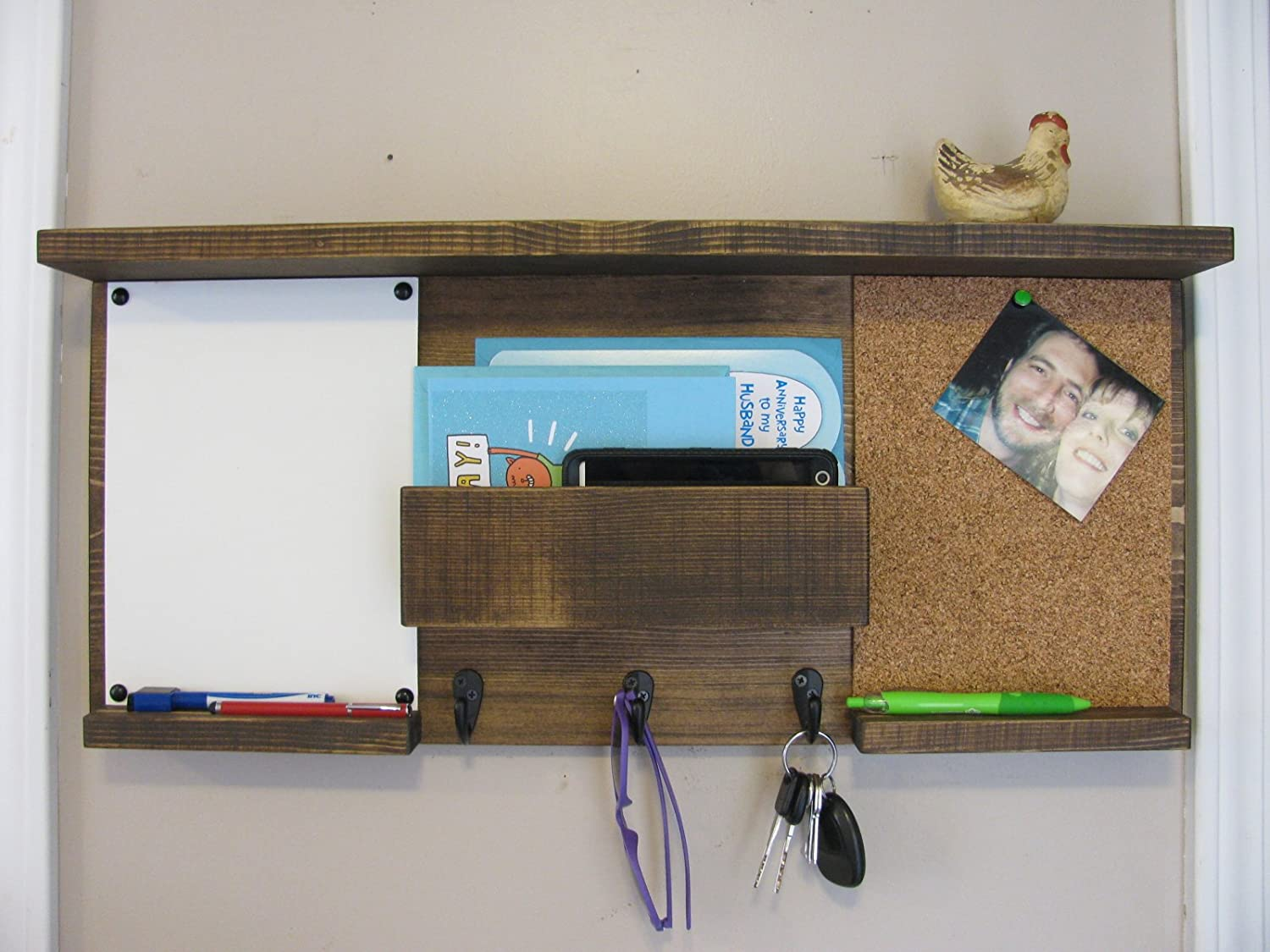Dual Mail Organizer with Shelf, Cork Board and White Board, Mail Holder, Mail Organizer, Dual Message Board