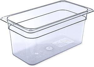 "Carlisle 3066207 StorPlus Third Size Food Pan, Polycarbonate, 6"" Deep, Clear"