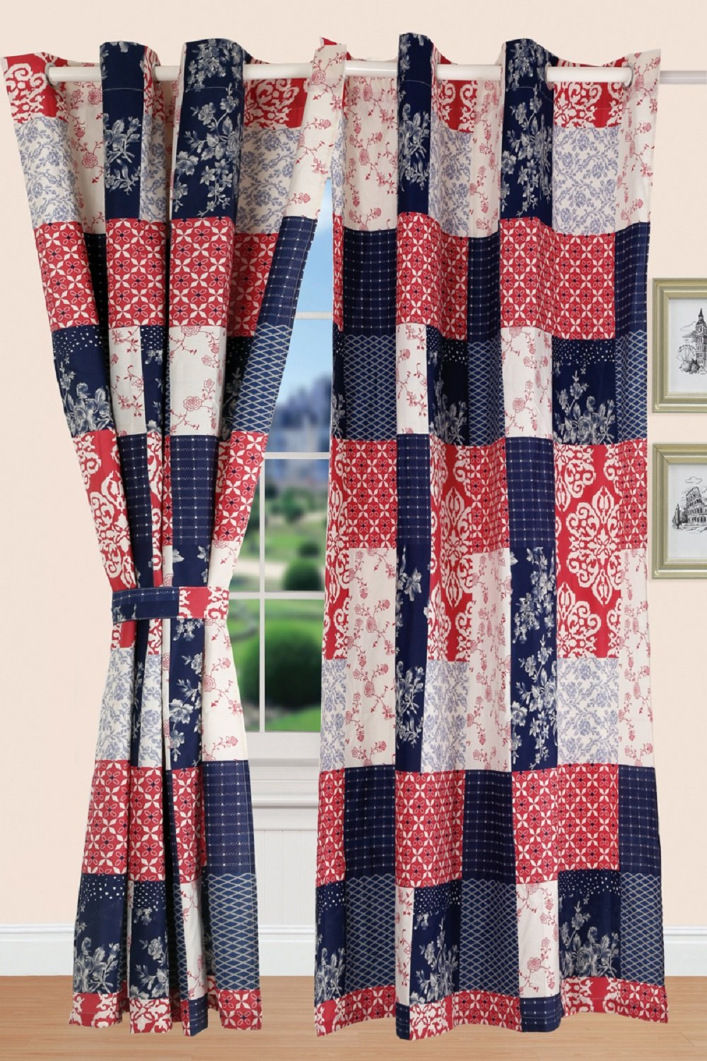 All American Collection New 4pc Printed Modern Floral Patchwork Curtain Set for the Bedspread Coverlet Set