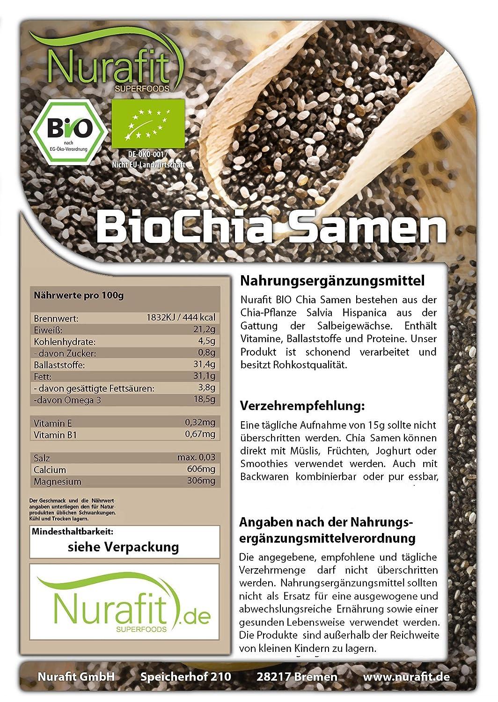 nurafit semillas de chia | Certificado Bio | 100% orgánica y ...