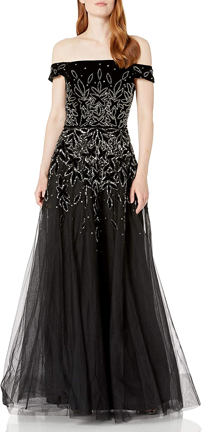 80s Dresses | Casual to Party Dresses Adrianna Papell Womens Bead Velvet Long Dress $95.77 AT vintagedancer.com