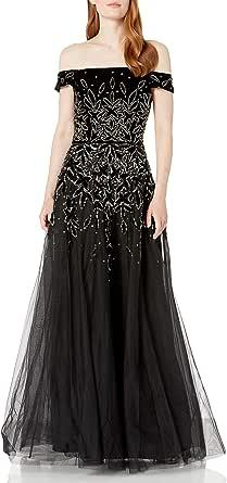 Adrianna Papell Womens AP1E206522 Bead Velvet Long Dress Cap Sleeve Formal Night Out Dress - Black