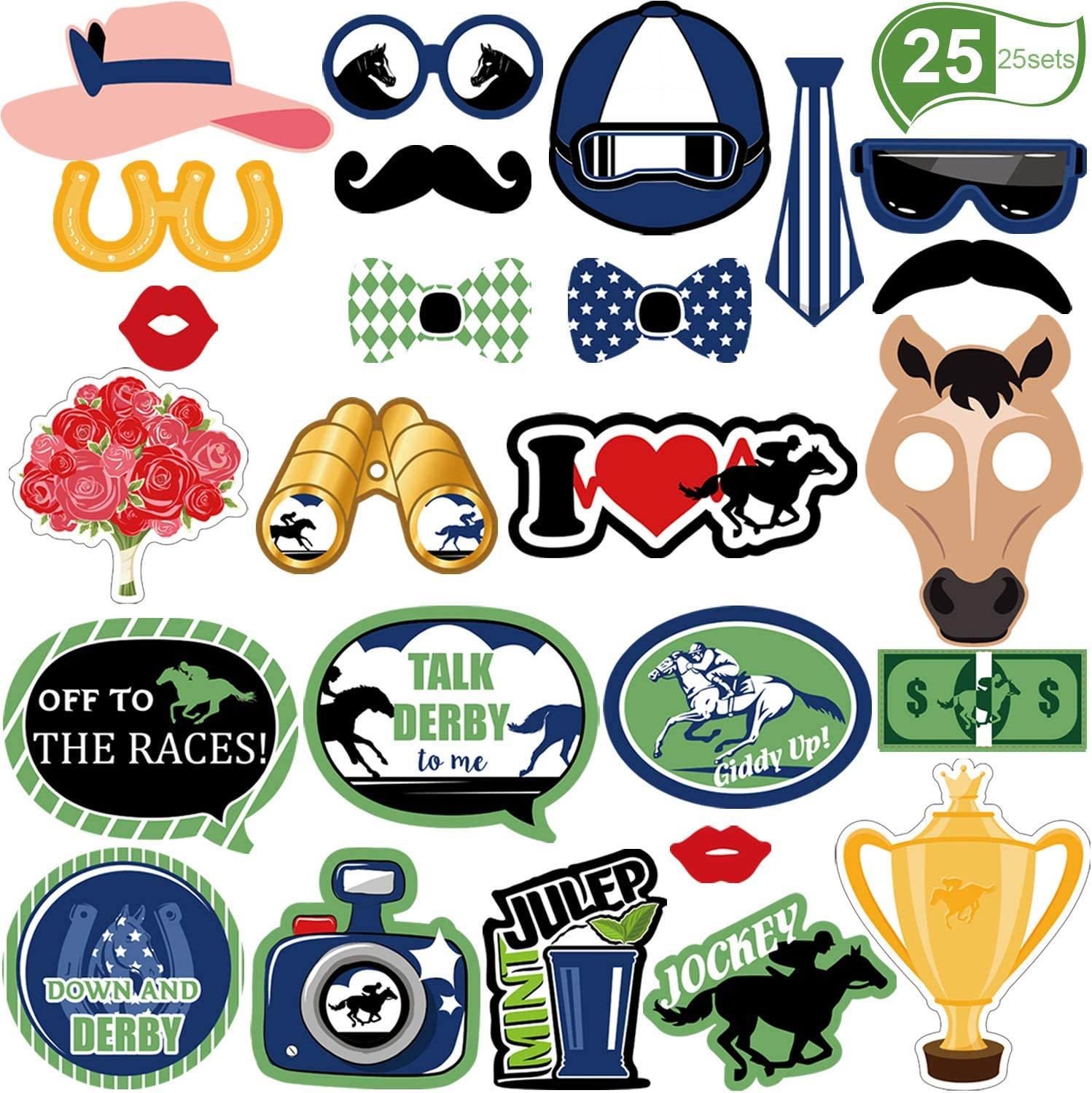 Horse Race Party Photo Booth Props Kit Derby Party Supplies, Horse Racing Camera Props for Derby Horse Racing Kentucky Party Favors, 25 Pieces