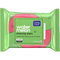 Clean & Clear Hydrating Watermelon Facial Cleansing Wipes to Remove Makeup, Dirt & Impurities, Oil-Free Pre-Moistened…