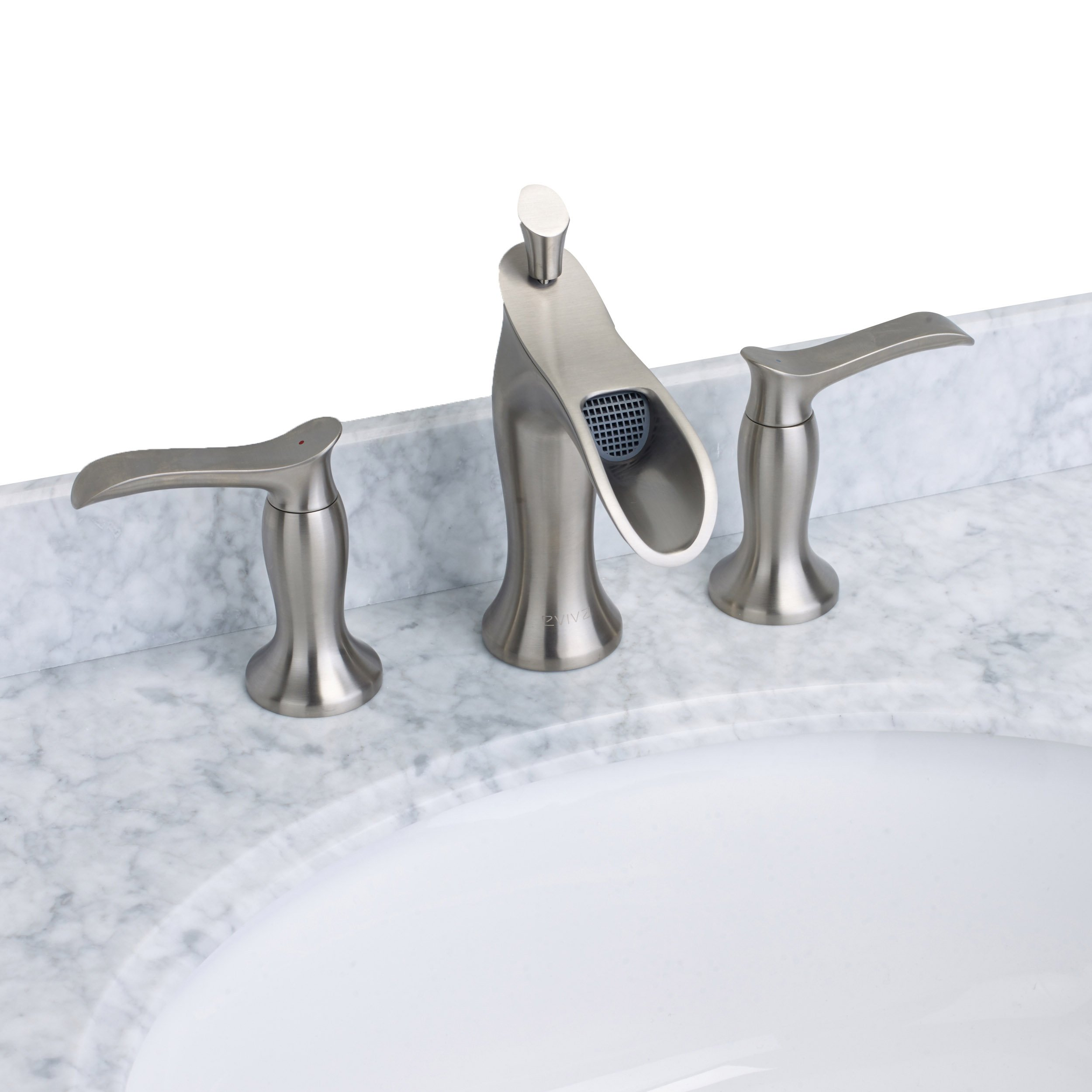 Eviva Evft466Bn Swan Luxury Water-Fall Widespread 3-Hole (2 Handles) Bathroom Sink Faucet (Brushed Nickel) Combination
