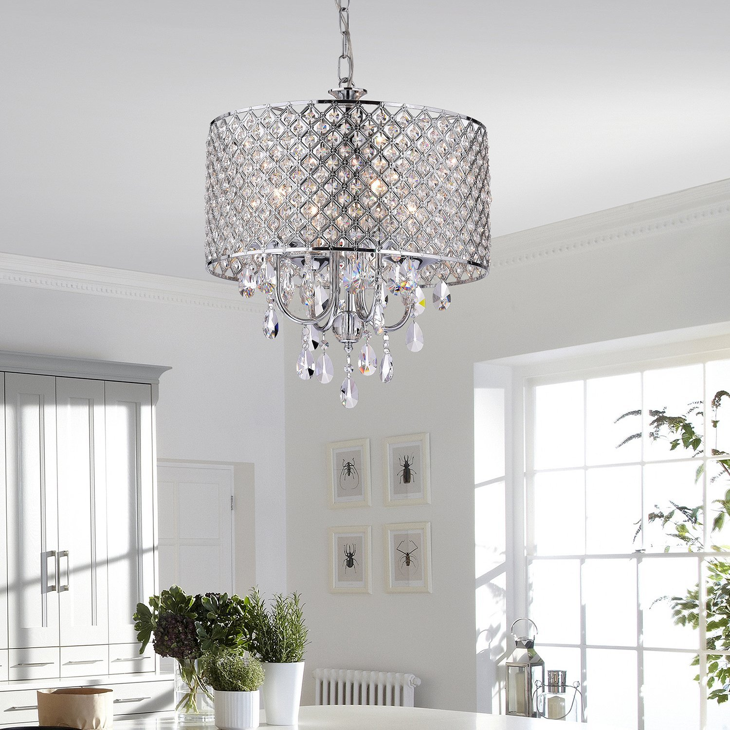 Edvivi epg801ch chrome finish drum shade 4 light crystal chandelier edvivi epg801ch chrome finish drum shade 4 light crystal chandelier ceiling fixture round amazon aloadofball Gallery