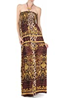 Sakkas Leopard Print Beaded Halter Smocked Bodice Maxi Dress