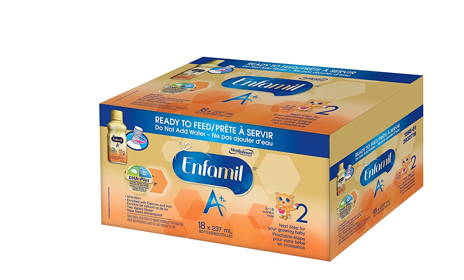 Enfamil A+ 2 Infant Formula, Ready to Feed Bottles, 237mL, 18 pack Mead Johnson & Company CA